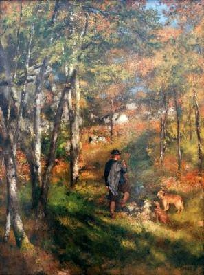 The painter Jules Le Coeur with his dogs in the wood of Fontainebleau - Pierre Renoir