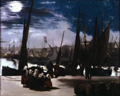 The port of Boulogne in moonlight - Édouard Manet