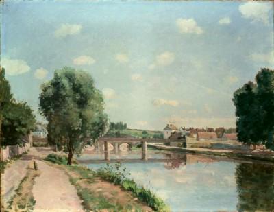 The railway bridge near Pontoise - Camille Pissarro