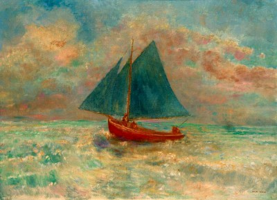 The red boat with blue sail - Odilon Redon