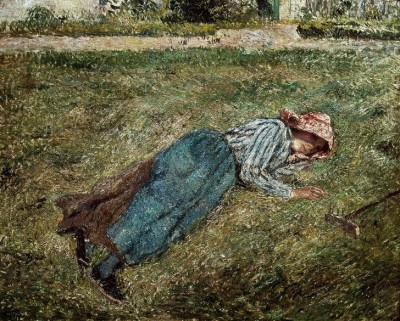 The Rest, girl lying on the grass, Pontoise - Camille Pissarro