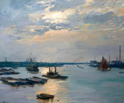 The River Thames at Greenwich - Evening - John Lavery