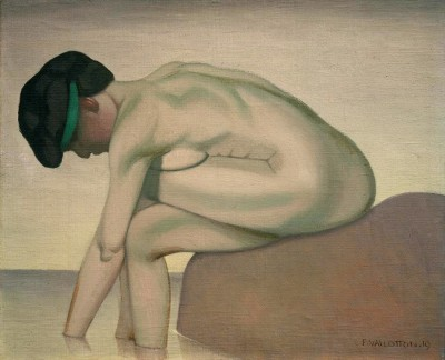 The sitting bather in profile on a rock - Félix Vallotton