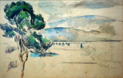 The Valley of the Arc with Viaduct and a Parasol Pine - Paul Cézanne