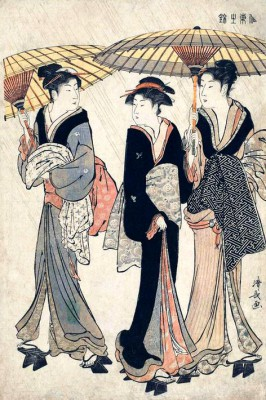 Three Beauties in the Rain - Torii Kiyonaga