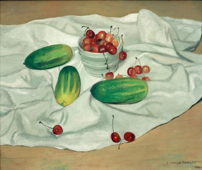 Three cucumbers and a pot of cherries - Félix Vallotton