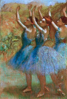 Three dancers in blue - Edgar Degas