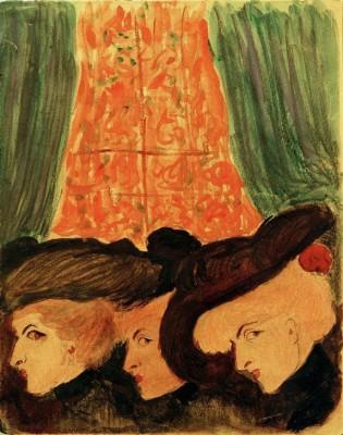Three women in the theater - Marianne von Werefkin