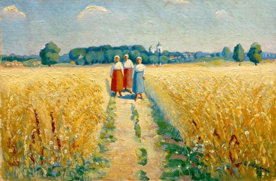 Three women on a path - Kazimierz Malewicz