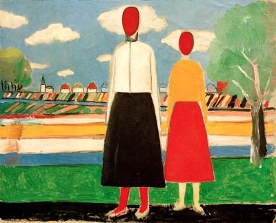 Two figures in a landscape - Kazimierz Malewicz