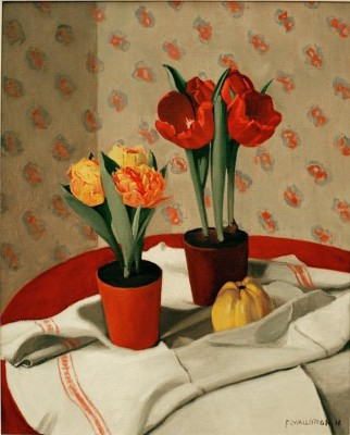 Two pots with yellow and red tulips - Félix Vallotton