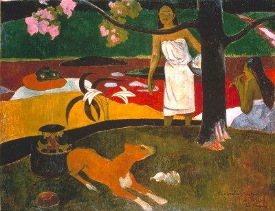 Two Tahitian Women with Dog - Paul Gauguin