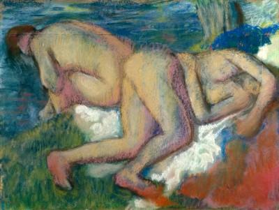 Two Women Bathing - Edgar Degas