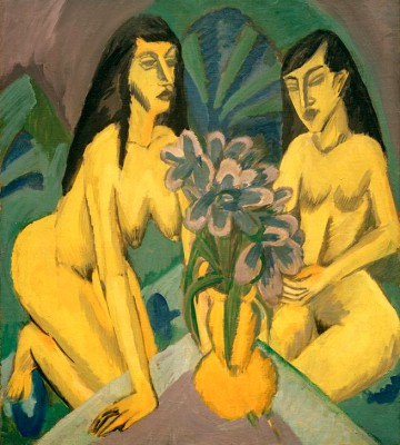 Two yellow nudes with bouquet of flowers - Ernst Ludwig Kirchner