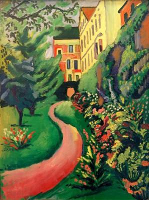 Unser Garten mit blühenden Rabatten - August Macke