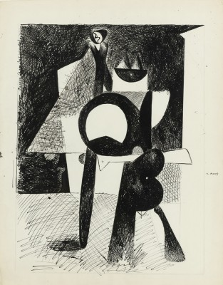 Untitled (Cubist standing figure) (recto-verso) - Arshile Gorky
