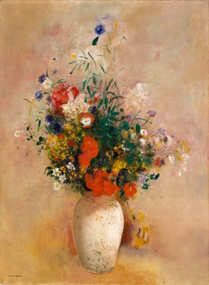 Vase of Flowers (Pink Background) - Odilon Redon
