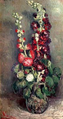 Vase with Hollyhocks - Vincent van Gogh