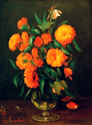 Vase with marigolds - Calendula - Gustave Courbet