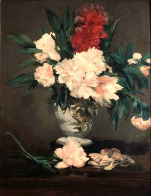Vase with peonies on a pedestal - Édouard Manet