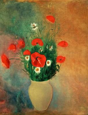 Vase with red poppy - Odilon Redon