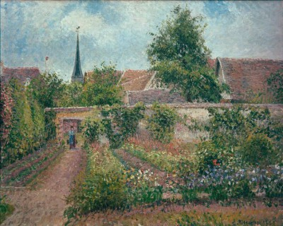 Vegetable garden in Eragny, overcast sky, morning - Camille Pissarro