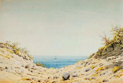 View through an embankment onto the sea - Caspar David Friedrich