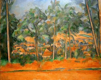 Village behind trees - Paul Cézanne
