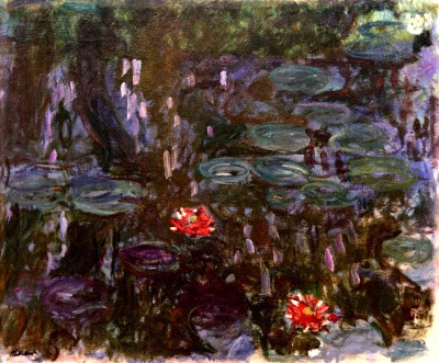Waterlilies, reflection of willow trees - Claude Monet
