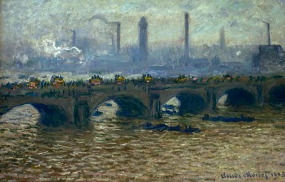 Waterloo Bridge, grey sky - Claude Monet