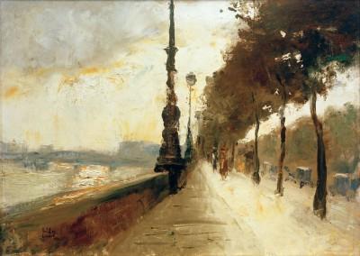 Waterloo Bridge at breakaway sun - Lesser Ury
