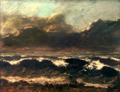 Waves with three sailboats - Gustave Courbet
