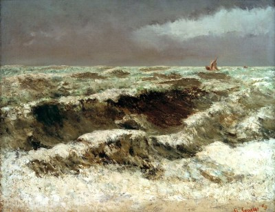 Waves with two sailing boats in the distance - Gustave Courbet