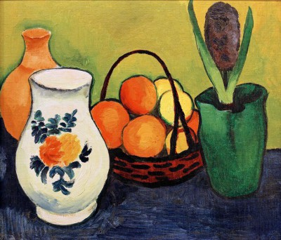 Weißer Krug mit blauen Früchten - August Macke