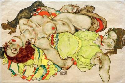 Weibliches Liebespaar - Egon Schiele