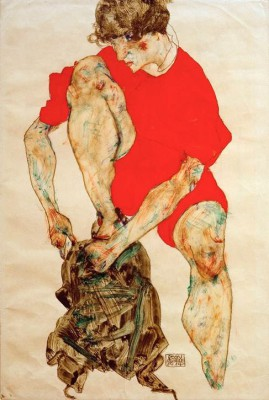 Weibliches Modell in rotem Gewand - Egon Schiele