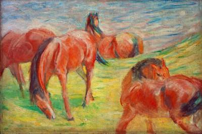 Weidende Pferde I - Franz Marc