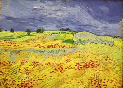 Wheat field with stormy sky - Vincent van Gogh