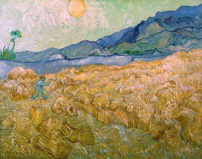 Wheatfield with Reaper, Setting Sun - Vincent van Gogh