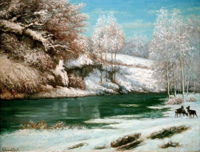 Winter landscape with deer - Gustave Courbet