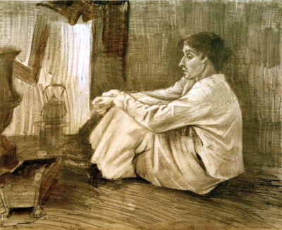 Woman (Sien) with Cigar Sitting near the Stove - Vincent van Gogh