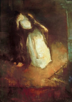 Woman at the fireplace - Lesser Ury