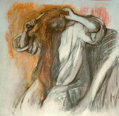 Woman combing her hair (4) - Edgar Degas