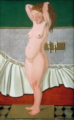 Woman combing in bathroom - Félix Vallotton