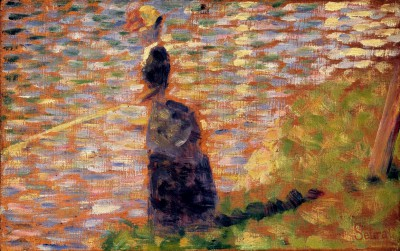 Woman fishing on the banks of the Seine - Georges-Pierre Seurat