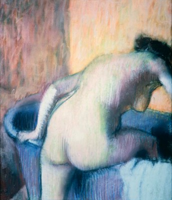 Woman getting into a bathtub - Edgar Degas