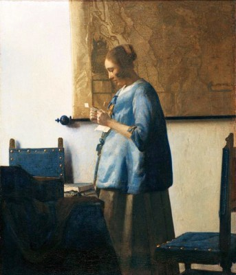 Woman in blue reading a letter - Jan Vermeer