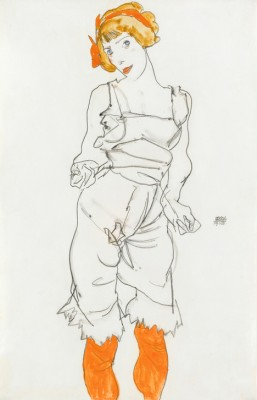 Woman in Underclothes and Stockings - Egon Schiele