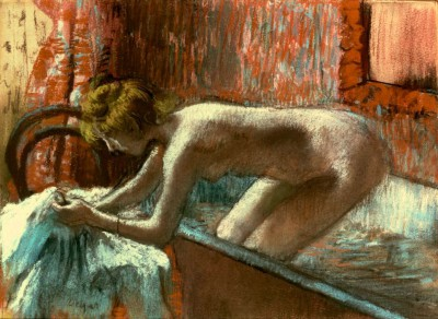Woman stepping out of the bath - Edgar Degas