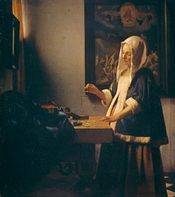 Woman weighing pearls - Jan Vermeer
